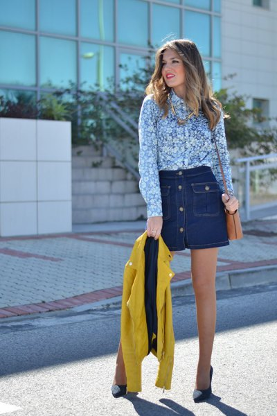 blue and white floral printed shirt with dark blue denim mini skirt