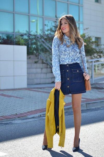blue and white floral printed shirt with dark blue denim mini skirt