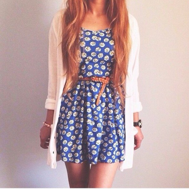 blue belted floral sundress with white cardigan