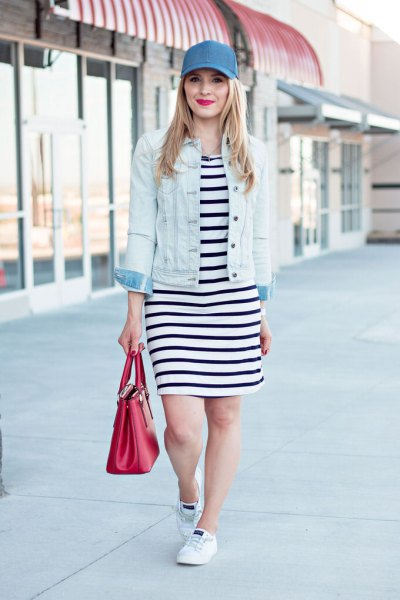 blue denim baseball cap with black and white striped t shirt dress