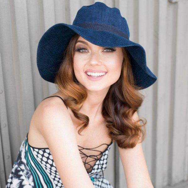 blue denim floppy hat with grey polka dot lace up dress