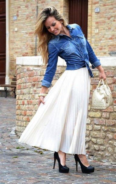 blue denim jacket with white maxi skirt