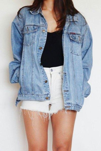 blue denim jacket with white mini shorts