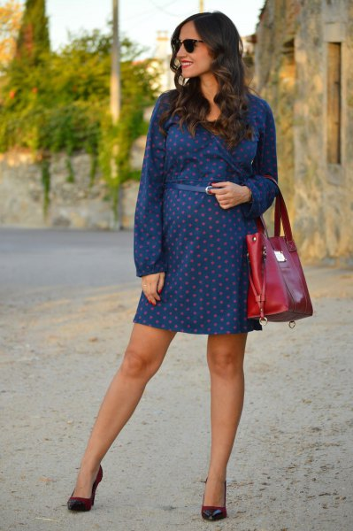 blue long sleeve polka dot mini dress with matching belt