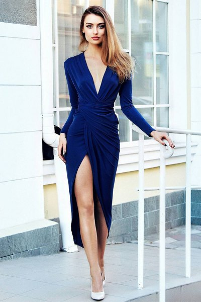 blue plunge midi wrap dress