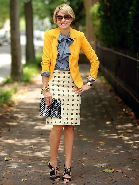 blue ribbon bow shirt and polka dot mini skirt