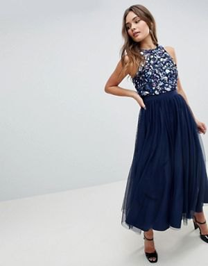 blue sequin halter top with navy maxi chiffon skirt