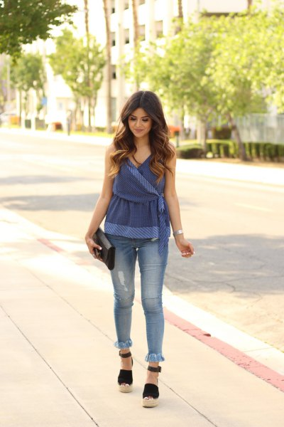 blue velvet wrap peplum top with fringe hem skinny jeans