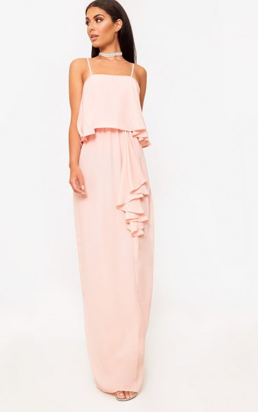 blush faux two piece floor length chiffon dress