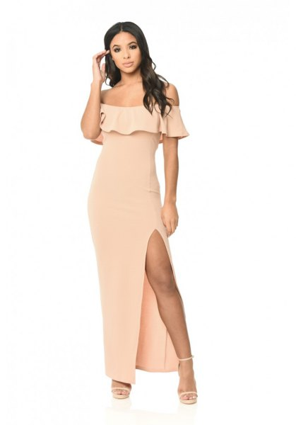blush off the shoulder ruffle high split maxi dress