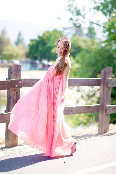 blush pink maxi pleated flared dress