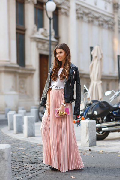 blush pink pleated skirt with black leather jacket