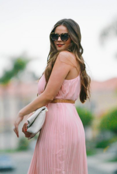 blush sleeveless maxi pleated and belted dress
