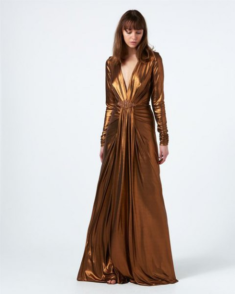 bronze floor length long sleeve flowy wrap dress