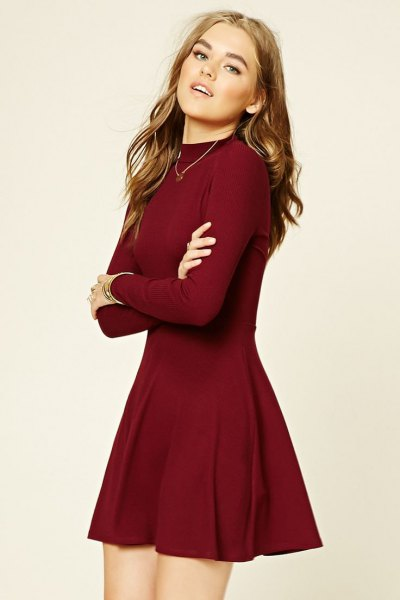 burgundy fit and flare mini sweater dress