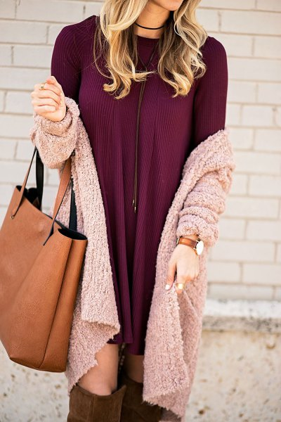burgundy mini shirt dress with grey knit cardigan
