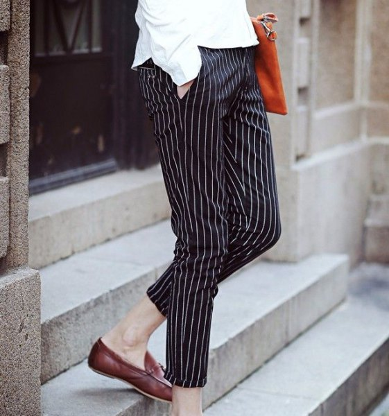 button up shirt with black and white striped cropped pants