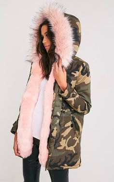 camo fur lined hooded parka jacket with white blouse