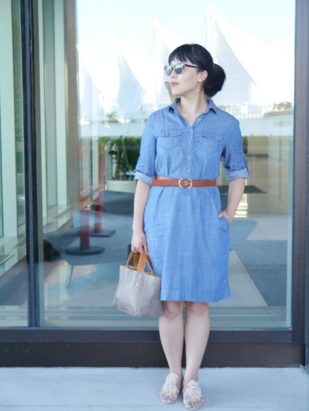 chambray belted shirt dress with grey leather purse