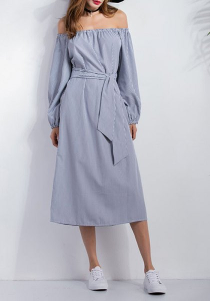 chambray off the shoulder tie waist midi casual dress with sneakers