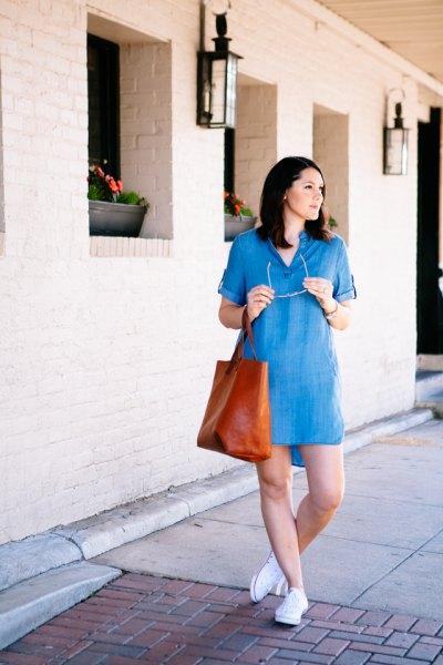 chambray v neck mini dress with brown leather purse