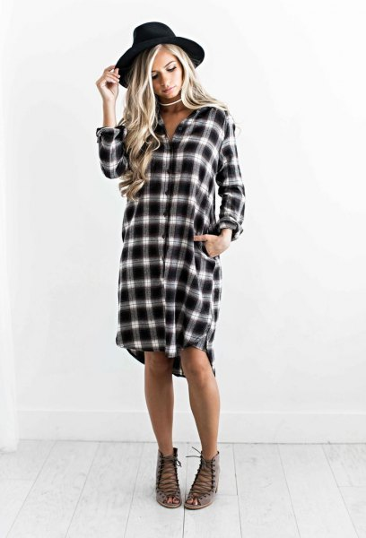 checkered boyfriend shift dress with black felt hat