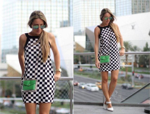 checkered halter shift mini dress with white heels