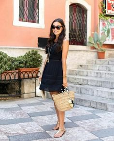 chiffon mini sundress with straw purse