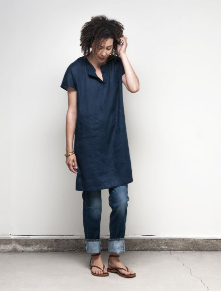 dark blue denim long tunic with cuffed jeans