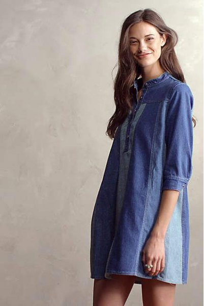 dark blue denim patch tunic dress