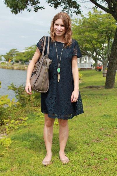 dark navy short sleeve lace mini swing dress