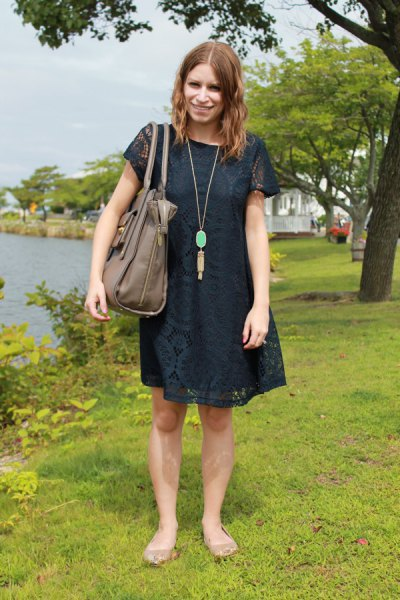 dark navy short sleeve lace mini swing dress