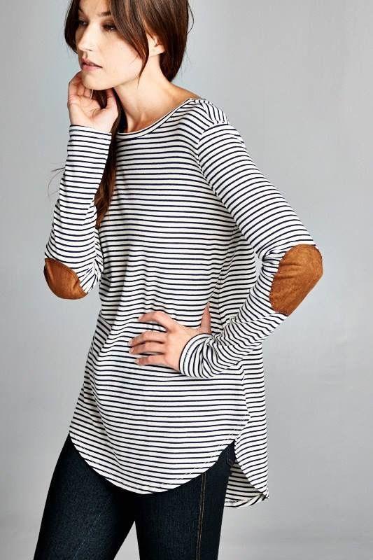 elbow patch shirt stripes