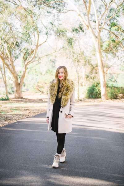 faux fur wool coat with black shift dress and white duck boots