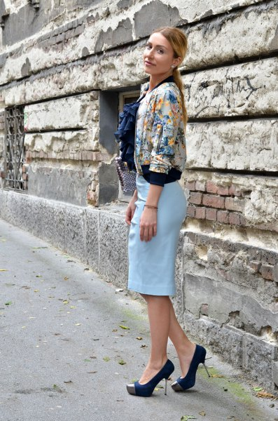 floral jacket with sky blue pencil skirt and black heels