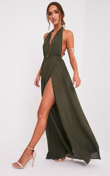 green maxi high split plunge dress