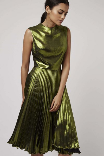 green metallic sleeveless pleated dress