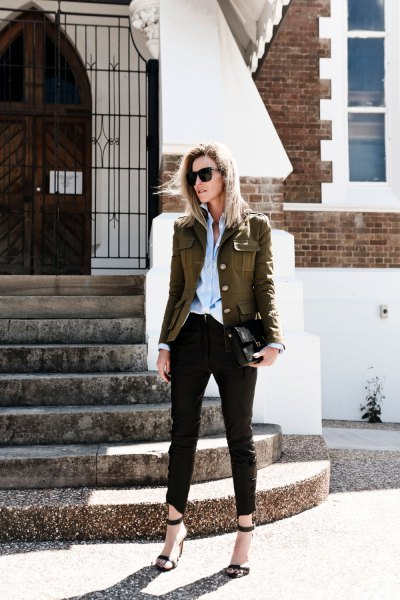 green military blazer with light blue chambray shirt