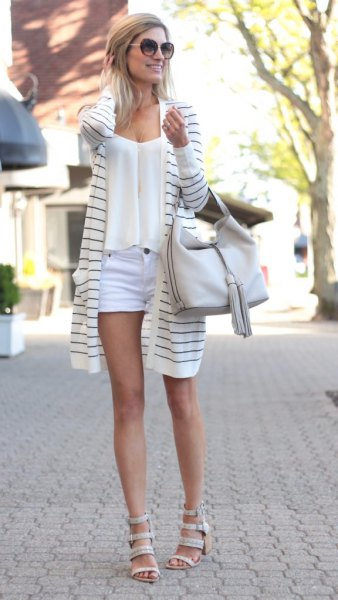 grey and white long cardigan with light blue mini shorts