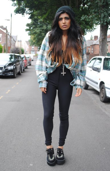 grey and white plaid vintage boyfriend shirt with high waisted black jeans