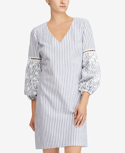 grey and white vertical striped puff sleeve shift dress