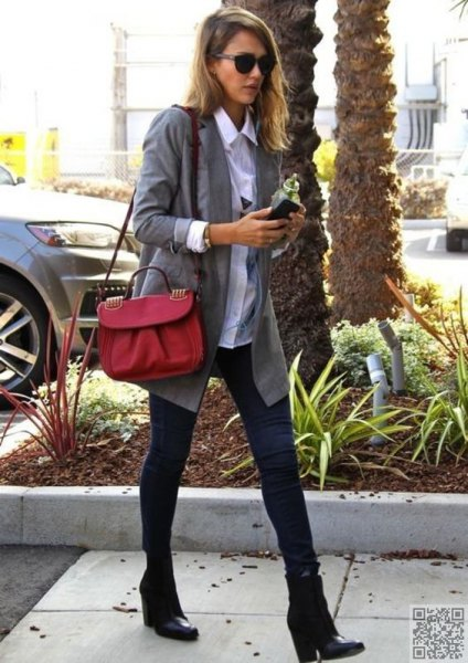 grey boyfriend blazer with white button up shirt