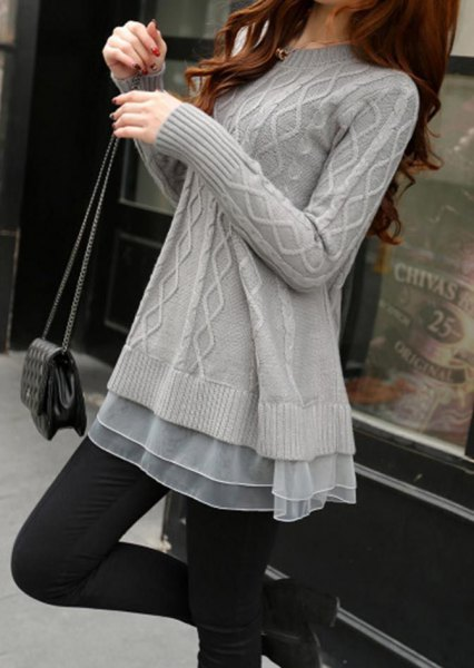 grey cable knit tunic sweater with chiffon semi sheer tunic top