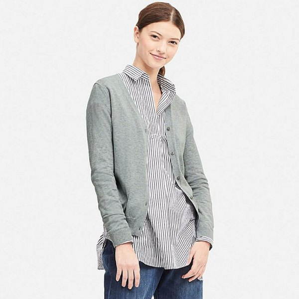 grey cardigan with black and white striped button up shirt