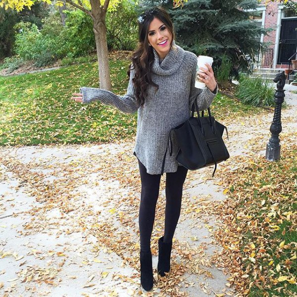 grey cowl neck long ribbed sweater with leggings and black short boots