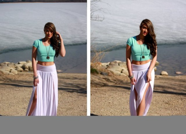grey cropped t shirt with sky blue maxi skirt