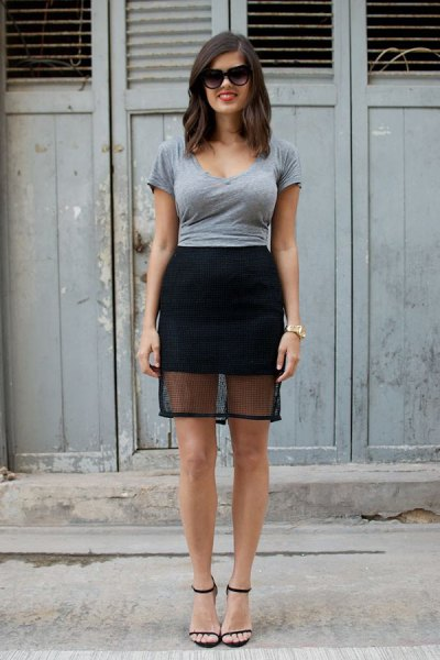 grey form fitting tee with black mini mesh skirt