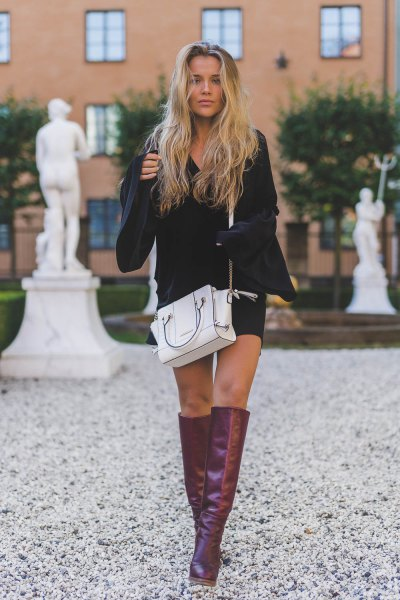 grey leather knee high boots white leather purse