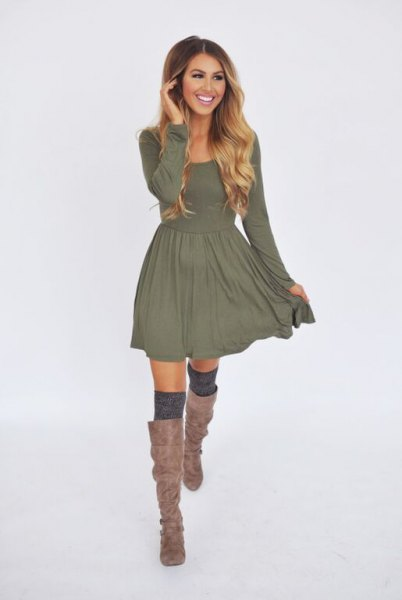 grey long sleeve fit and flare casual mini dress with matching boots