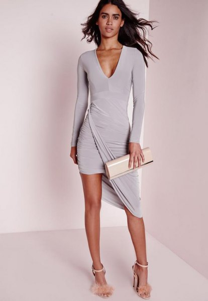 grey long sleeve high low mini wrap plunge dress
